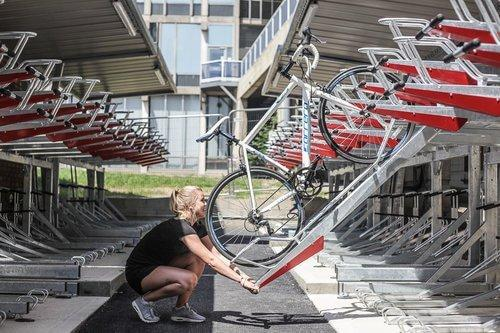 Outdoor Two-Tier Bike Rack Under Shelter at University of Essex