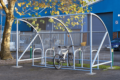 Bike Stood inside Clear Shelter