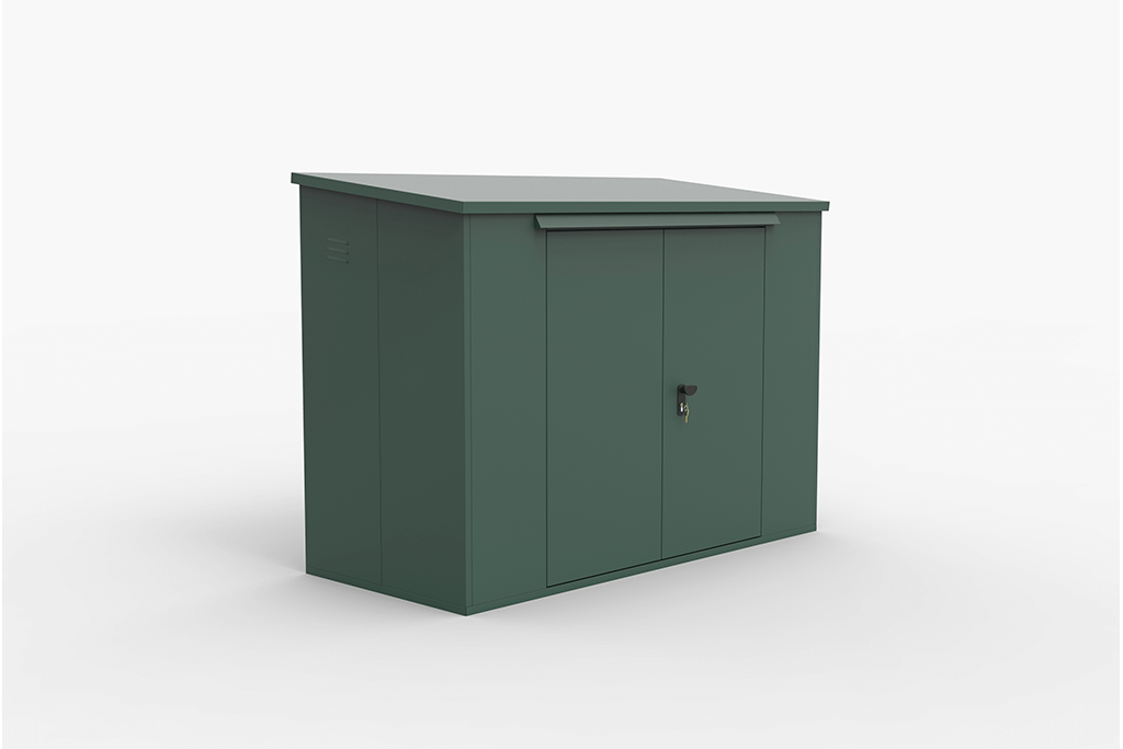 Side Access Green Bike Locker Box for space saving and security