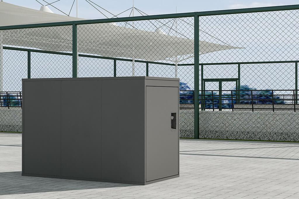 Single Grey Cycle Locker with right/left handling and multiple lock options