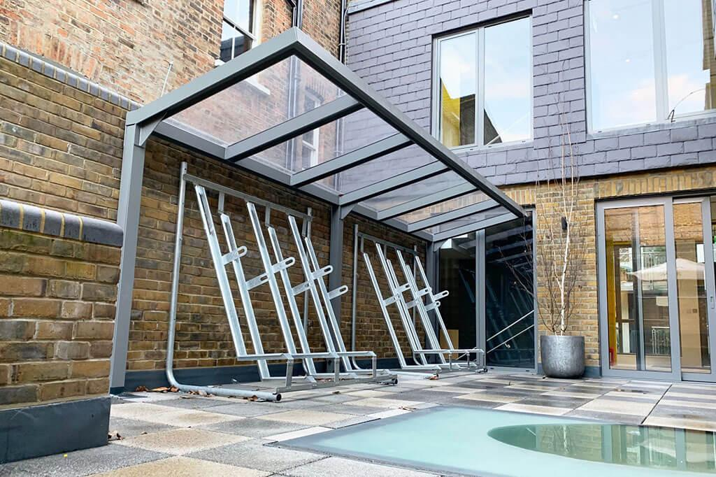A bespoke cantilever bike shelter on Hermes Street London for 10 bikes